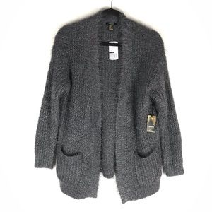 NWT Forever21 fuzzy open pocket cardigan sweater
